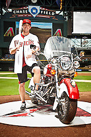 Aaron Hill cover portrait photographed at Chase Field in Phoenix, Arizona on July 274, 2012.  (Photo by Jonathan Willey/Arizona Diamondbacks)