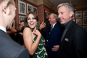 ELIZABETH HURLEY; GRAYDON CARTER; PATRICK COX, Graydon Carter hosts a diner for Tom Ford to celebrate the London premiere of ' A Single Man' Harry's Bar. South Audley St. London. 1 February 2010