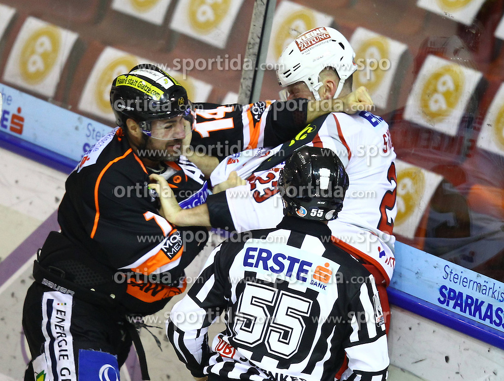 07.12.2012, Eisstadion Liebenau, Graz, AUT, EBEL, Graz 99ers vs EC KAC, 28. Runde, im Bild Guillaume Lefebvr, (99ers, #14) und Mike Siklenka (EC KAC, #23) // during the Erste Bank Icehockey League 28th Round match betweeen Graz 99ers and EC KAC at the Icehockey Stadium Liebenau, Graz, Austria on 2012/12/07. EXPA Pictures © 2012, PhotoCredit: EXPA/ Patrick Leuk
