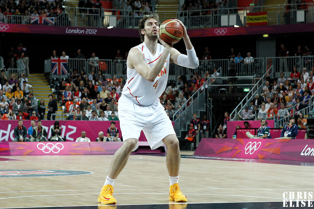 02 August 2012: Spain Pau Gasol is seen at the free throw line during 79-78 Team Spain victory over Team Great Britain, during the men's basketball preliminary, at the Basketball Arena, in London, Great Britain.