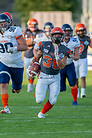 KELOWNA, BC - AUGUST 3:  Kelton Kouri #38 of Okanagan Sun runs with the ball against the Kamloops Broncos at the Apple Bowl on August 3, 2019 in Kelowna, Canada. (Photo by Marissa Baecker/Shoot the Breeze)