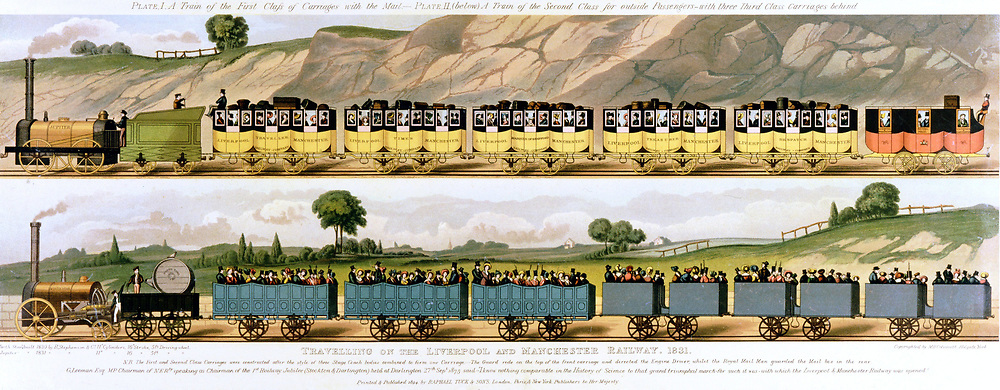 Travelling on the Liverpool and Manchester Railway 1831. Top: 1st class carriages drawn by locomotive 'Jupiter'. Bottom: 2nd and 3rd class carriages drawn by locomotive 'North Star'. The world's first passenger railway, the Liverpool and Manchester opened 15 September 1830:  Principal engineer George Stephenson. Lithograph.