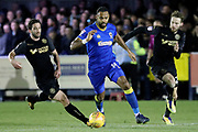 AFC Wimbledon midfielder Liam Trotter (14) dribbling during the EFL Sky Bet League 1 match between AFC Wimbledon and Wigan Athletic at the Cherry Red Records Stadium, Kingston, England on 16 December 2017. Photo by Matthew Redman.