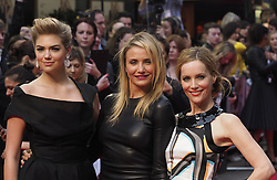 US actress Cameron Diaz with costars Leslie Mann, right, and Kate Upton , left,  arrive for the Premiere of their latest film, 'The Other Woman' in  London, United Kingdom. Wednesday, 2nd April 2014. Picture by Max Nash / i-Images