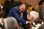 Spokane Mayor David Condon greets Gerri Craves at the annual Ignatian Gala on April 14. (Photo by Ryan Sullivan)