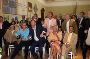 Simon oakes, Mrs. Charles Delavigne and Rocco Forte amongst others watching England scoring their first goal in the game with Croatia, Around the World in One night, gala to raise money for the Royal Academy,   Royal Academy. 21 June 2004. ONE TIME USE ONLY - DO NOT ARCHIVE  © Copyright Photograph by Dafydd Jones 66 Stockwell Park Rd. London SW9 0DA Tel 020 7733 0108 www.dafjones.com