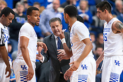 Kentucky head coach John Calipari gives direction during a break in the first half.<br /> <br /> The University of Kentucky hosted the University of Florida, Saturday, Feb. 06, 2016 at Rupp Arena in Lexington .