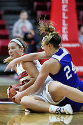 NORMAL, IL - January 06: Lexi Wallen and Nicole Miller wrestle for possession during a college women's basketball game between the ISU Redbirds and the Drake Bulldogs on January 06 2019 at Redbird Arena in Normal, IL. (Photo by Alan Look)