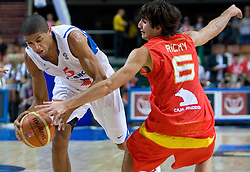 Nicolas Batum of France vs Ricky Rubio of Spain during the EuroBasket 2009 Quaterfinals match between Spain and France, on September 17, 2009 in Arena Spodek, Katowice, Poland.  (Photo by Vid Ponikvar / Sportida)