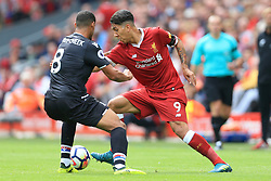 19th August 2017 - Premier League - Liverpool v Crystal Palace - Roberto Firmino of Liverpool turns inside Ruben Loftus-Cheek of Palace - Photo: Simon Stacpoole / Offside.
