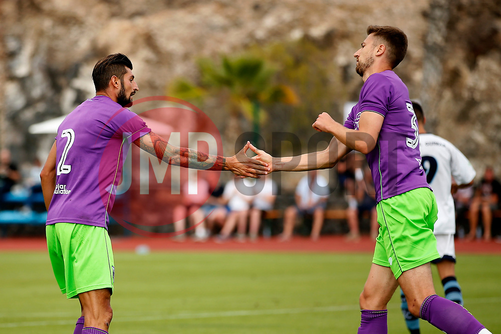 Eros Pisano of Bristol City celebrates with Jens Hegeler - Mandatory by-line: Matt McNulty/JMP - 22/07/2017 - FOOTBALL - Tenerife Top Training - Costa Adeje, Tenerife - Bristol City v Atletico Union Guimar  - Pre-Season Friendly