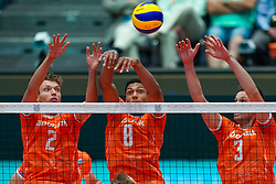 10-08-2019 NED: FIVB Tokyo Volleyball Qualification 2019 / Belgium - Netherlands, Rotterdam<br /> Third match pool B in hall Ahoy between Belgium vs. Netherlands (0-3) for one Olympic ticket / (L-R) Wessel Keemink #2 of Netherlands, Fabian Plak #8 of Netherlands, Maarten van Garderen #3 of Netherlands