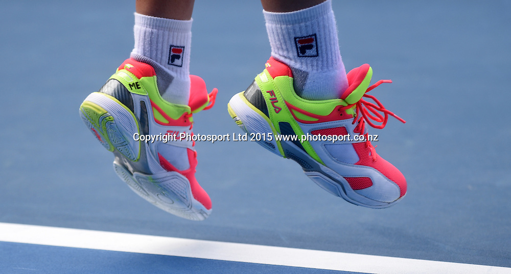 New Zealand's Marina Erakovic's shoes during her second round singles match on Day 3 at the ASB Classic WTA International. Auckland, New Zealand. Wednesday 7 January 2015. Copyright photo: Andrew Cornaga/www.photosport.co.nz
