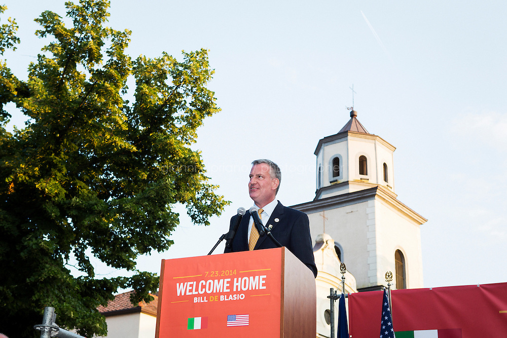 SANT'AGATA DE GOTI, ITALY - 23 JULY 2014: Mayor of New York Bill De Blasio gives a speech after receiving a honorary citizenship from the mayor of Sant'Agata de Goti, his ancestra home town in Italy, on July 23rd 2014.<br /> <br /> New York City Mayor Bill de Blasio arrived in Italy with his family Sunday morning for an 8-day summer vacation that includes meetings with government officials and sightseeing in his ancestral homeland.