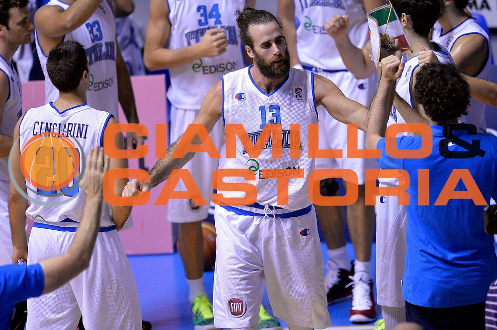 DESCRIZIONE : Cagliari Qualificazione Eurobasket 2015 Qualifying Round Eurobasket 2015 Italia Svizzera Italy Switzerland<br /> GIOCATORE : Luigi Datome<br /> CATEGORIA : Pregame Presentazione<br /> EVENTO : Cagliari Qualificazione Eurobasket 2015 Qualifying Round Eurobasket 2015 Italia Svizzera Italy Switzerland<br /> GARA : Italia Svizzera Italy Switzerland<br /> DATA : 17/08/2014<br /> SPORT : Pallacanestro<br /> AUTORE : Agenzia Ciamillo-Castoria/Max.Ceretti<br /> Galleria: Fip Nazionali 2014<br /> Fotonotizia: Cagliari Qualificazione Eurobasket 2015 Qualifying Round Eurobasket 2015 Italia Svizzera Italy Switzerland<br /> Predefinita :