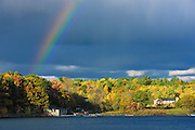 Rainbow and auttumn colors<br /> Near Birch Island<br /> Ontario<br /> Canada