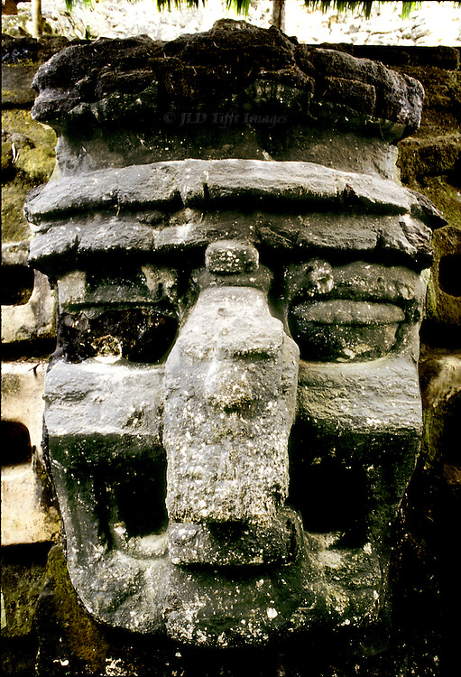 Tikal: carved stone gigantic mask of the Mayan rain god, fronting a buried structure, north Acropolis.  Its expression is ferocious, with a bulbous nose and frowning eyes.  Mayan spiritual lives seem to me to have been quite horrible.