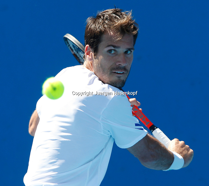 Australian Open 2012, Melbourne Park,ITF Grand Slam Tennis Tournament, Tommy Haas (GER),.Aktion, Einzelbild,Halbkoerper,Querformat,