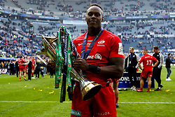 Maro Itoje of Saracens celebrates winning the Heineken Champions Cup after beating Leinster Rugby in the Final - Mandatory by-line: Robbie Stephenson/JMP - 11/05/2019 - RUGBY - St James' Park - Newcastle, England - Leinster Rugby v Saracens - Heineken Champions Cup Final