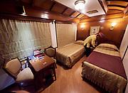 India, Delhi. Maharajas' Express luxury train. A Junior Suite cabin.