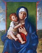 Virgin and Child' (The Madonna of the Pomegranate) c1480-1490. Oil and probably tempera on wood. Workshop of Giovanni Bellini (1426-1516) Italian Renaissance painter. Mother Infant Halo Cloak Blue