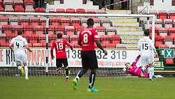 Falkirk's Thomson can't stop Dunfermline's Nicky Clarke's goal. Half time : Dunfermline 1 v 0 Falkirk, Scottish Championship game played 22/4/2017 at Dunfermline's home ground, East End Park.