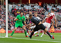 Football - 2018 / 2019 Premier League - Arsenal vs. Everton<br /> <br /> Lucas Digne (Everton FC ) close to the touchline tries to get his shot in from a tight angle at The Emirates.<br /> <br /> COLORSPORT/DANIEL BEARHAM