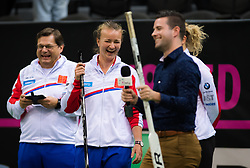November 8, 2018 - Prague, Czech Republic - Katerina Siniakova & Barbora Krejcikova of the Czech Republic play hockey during a video shoot ahead of the 2018 Fed Cup Final between the Czech Republic and the United States of America (Credit Image: © AFP7 via ZUMA Wire)