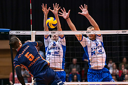 12-05-2019 NED: Abiant Lycurgus - Achterhoek Orion, Groningen<br /> Final Round 5 of 5 Eredivisie volleyball, Orion wins Dutch title after thriller against Lycurgus 3-2 / Shalev Saada #5 of Orion, Stijn Held #3 of Lycurgus , Niels de Vries #17 of Lycurgus