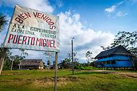 LORETO, PERU - CIRCA OCTOBER 2015:  Village of Puerto Miguel, in the Yarapa river in the Peruvian Amazon.
