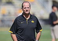 September 15 2012: Iowa Hawkeyes defensive coordinator Phil Parker watches as the team warms up before the start of the NCAA football game between the Northern Iowa Panthers and the Iowa Hawkeyes at Kinnick Stadium in Iowa City, Iowa on Saturday September 15, 2012. Iowa defeated Northern Iowa 27-16.