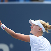 Alison Riske, USA, in action during her first round win over Casey Dellacqua, Australia, during the Connecticut Open at the Connecticut Tennis Center at Yale, New Haven, Connecticut, USA. 17th August 2014. Photo Tim Clayton