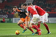 Sheffield United forward Billy Sharp (10) is jockeyed on the edge of the box by Charlton Athletic defender Jason Pearce (16) and Charlton Athletic defender Patrick Bauer (5) during the EFL Sky Bet League 1 match between Charlton Athletic and Sheffield Utd at The Valley, London, England on 26 November 2016. Photo by Nigel Cole.