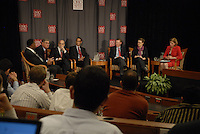 The pannel at the 'Conversation on the Economy,' a forum held at Pfahl Hall in the Fisher College of Business at Ohio State on Nov. 30, 2010..
