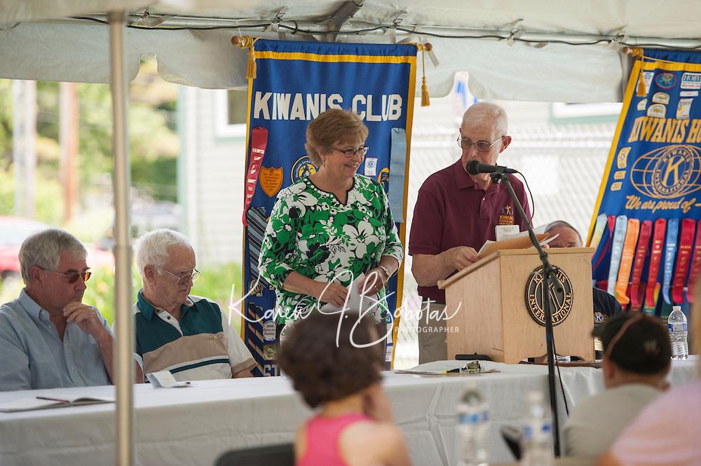 Jenny Nelson reads a letter from Senator Bernie Sanders during the 70th Anniversary celebration of the Kiwanis Pool in St. Johnsbury Vermont.  Karen Bobotas / for Kiwanis International