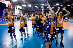 Oliver Venno (8) of ACH, Andrej Flajs (1) of ACH, Dejan Vincic (9) of ACH, Ramon Gato (12) of ACH, Daniel Lewis (3) of ACH, Matej Vidic (16) of ACH celebrate after the  volleyball match of CEV Indesit Champions League Men 2009/2010 between ACH Volley Bled (SLO) and Istanbul Buyuksehir BLD (TUR), on December 9, 2009 in Arena Tivoli, Ljubljana, Slovenia. (Photo by Vid Ponikvar / Sportida)