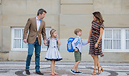Copenhagen, 15-08-2017<br /> <br /> <br /> Prince Vincent and Princess Josephine start in Grade 0 at Tranegard School in Hellerup on Tuesday 15 August. In this connection, there was an opportunity for photography before departure from Frederik VIII's Palace, Amalienborg, where the Crown Prince Frederik and Crown princess Mary came out in front of the palace together with their two youngest children.<br /> <br /> <br /> ONLY PUBLISHING IN FRANCE<br /> <br /> <br /> Royalportraits Europe/Bernard Ruebsamen