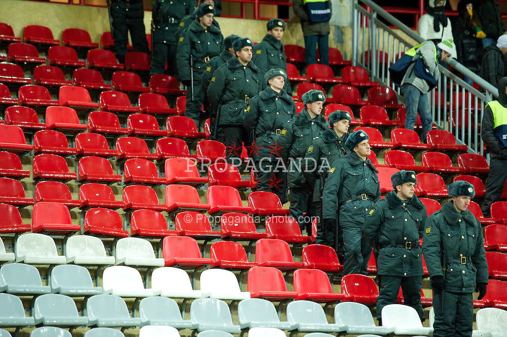 MOSCOW, RUSSIA - Thursday, November 8, 2012: Russian police officers watch as FC Anji Makhachkala take on Liverpool during the UEFA Europa League Group A match at the Lokomotiv Stadium. (Pic by David Rawcliffe/Propaganda)