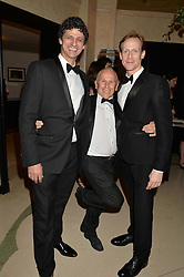 Left to right, JONATHAN COPE, WAYNE SLEEP and EDWARD WATSON at a dinner hosted by the Royal Academy of Dance to present the Queen Elizabeth II Award 2014 held at Claridge's, Brook Street, London on 4th September 2014.