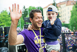 Mitja Pirih with his son celebrate after NK Maribor became Slovenian National Champion 2015 after football match between NK Maribor and NK Luka Koper in 36th Round of Prva liga Telekom Slovenije 2014/15, on May 30, 2015 in Stadium Ljudski vrt Maribor, Slovenia. Photo by Vid Ponikvar / Sportida