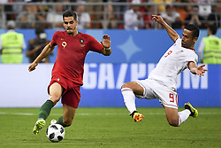 June 25, 2018 - Saransk, Russia - Andre Slva of Portugal fights for the ball with Omid Ebrahimi of Iran during the 2018 FIFA World Cup Group B match between Iran and Portugal at Mordovia Arena in Saransk, Russia on June 25, 2018  (Credit Image: © Andrew Surma/NurPhoto via ZUMA Press)