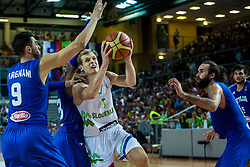 Jaka Blazic of Slovenia vs Andrea Bargnani, Luigi Datome of italia during friendly basketball match between National teams of Slovenia and Italy at day 3 of Adecco Cup 2015, on August 23 in Koper, Slovenia. Photo by Grega Valancic / Sportida