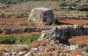 Small stone farm building in fields near Mellieha Bay, Marfa peninsula, Malta
