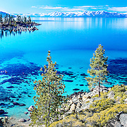 A panorama photo of Sand Harbor at Lake Tahoe.