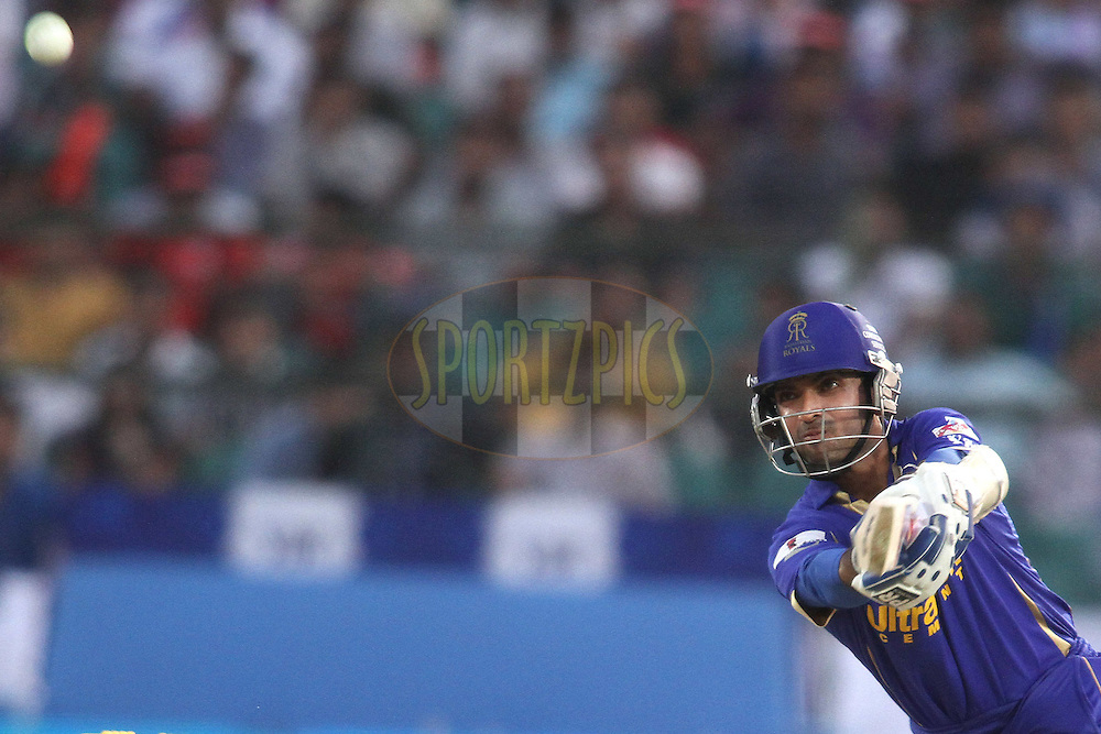 Ajinkya Rahane of the Rajasthan Royals hits over the top for six during match 20 of the the Indian Premier League (IPL) 2012  between The Rajasthan Royals and the Deccan Chargers held at the Sawai Mansingh Stadium in Jaipur on the 17th April 2012..Photo by Shaun Roy/IPL/SPORTZPICS