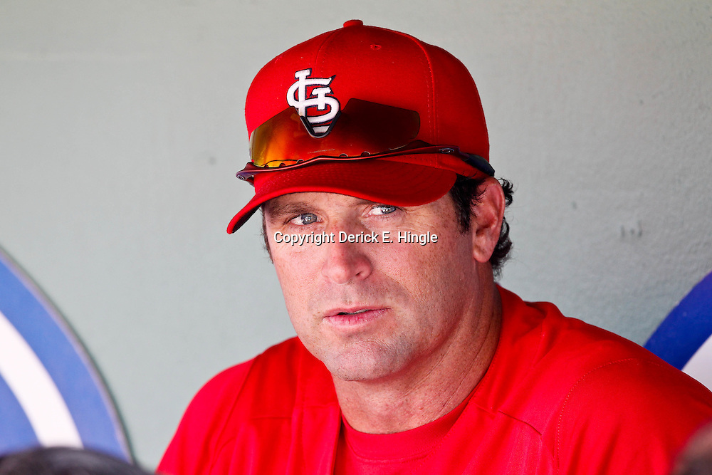 March 15, 2012; Fort Myers, FL, USA; St. Louis Cardinals manger Mike Matheny (22) against the Boston Red Sox during a spring training game at Jet Blue Park. Mandatory Credit: Derick E. Hingle-US PRESSWIRE