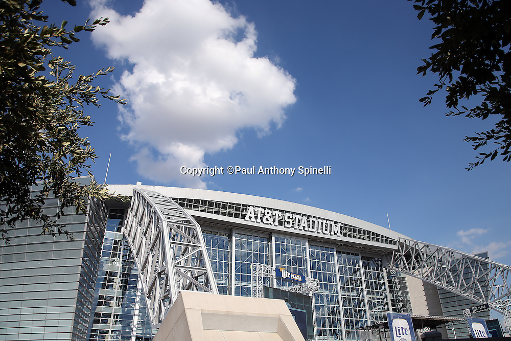 General view photograph of the exterior facade of AT&T Stadium before the Dallas Cowboys 2015 NFL preseason football game against the Houston Texans on Thursday, Sept. 3, 2015 in Arlington, Texas. The Cowboys won the game 21-14. (©Paul Anthony Spinelli)