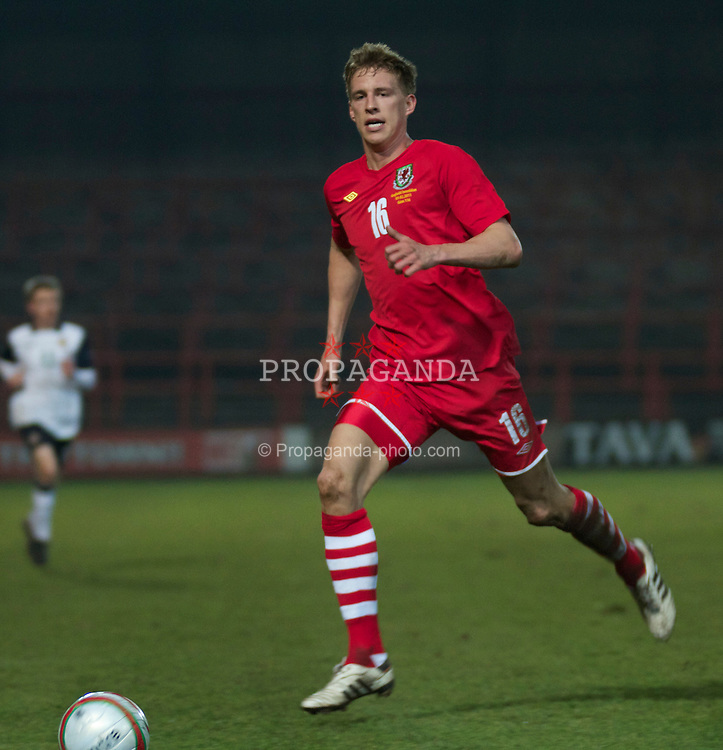 WREXHAM, WALES - Wednesday, February 9, 2011: Wales' Joe Partington in action against Northern Ireland during the Under-21 International Friendly match at the Racecourse Ground. (Photo by Vegard Grott/Propaganda)