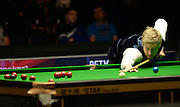 21.02.2016. Cardiff Arena, Cardiff, Wales. Bet Victor Welsh Open Snooker final.  Ronnie O'Sullivan versus Neil Robertson. Neil Robertson at the table.