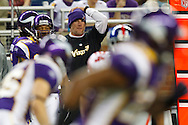Minnesota Vikings quarterback Brett Favre (4) on the sidelines during the NFL football game against the New York Giants at Ford Field in Detroit, Monday , Dec. 13, 2010. (AP Photo/Rick Osentoski)